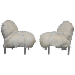 Pace Collection Lounge Chairs, Lucite and Mongolian Lamb