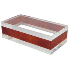 Mid-Century Modern Clear and Red Tea Amber Lucite Decorative Box, circa 1970s