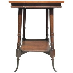 Cherrywood Side Table with Splayed Bronze Feet in Hunzinger or Lejambre Style