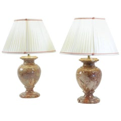 Pair of Marble Lamps from the 20th Century