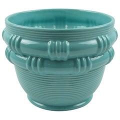Turquoise Ceramic Glaze Vase Planter by Blanche Letalle for Saint Clement, 1950s