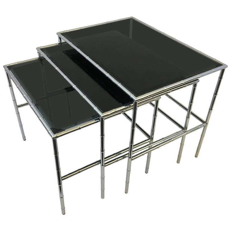 Set of Three Chrome and Smoked Glass Faux Bamboo Nesting Tables