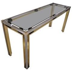 Romeo Rega Console Table, Brass and Chrome, 1970s Italian