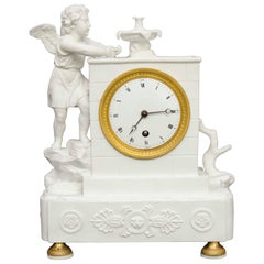 """Small 19th Century Bisque Pendulum Clock """"Angel by the Fountain"""""""