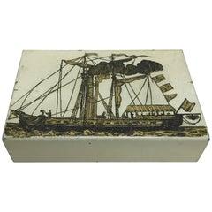 Old Enameled Box Designed by Piero Fornasetti, circa 1950