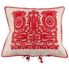 Made to Order Transylvanian Embroidered Red Cushion Cover