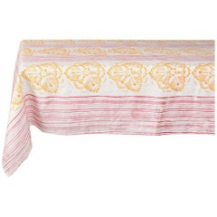Red and Saffron Hand Printed Linen Tablecloth