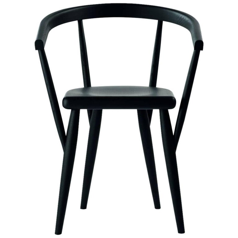 """Lina"" Black Painted Ash Chair Designed by Patrizia Bertolini for Adele-C"