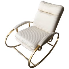 Italian Brass Metal Rocking Chair with White Original Fabric from  1960s
