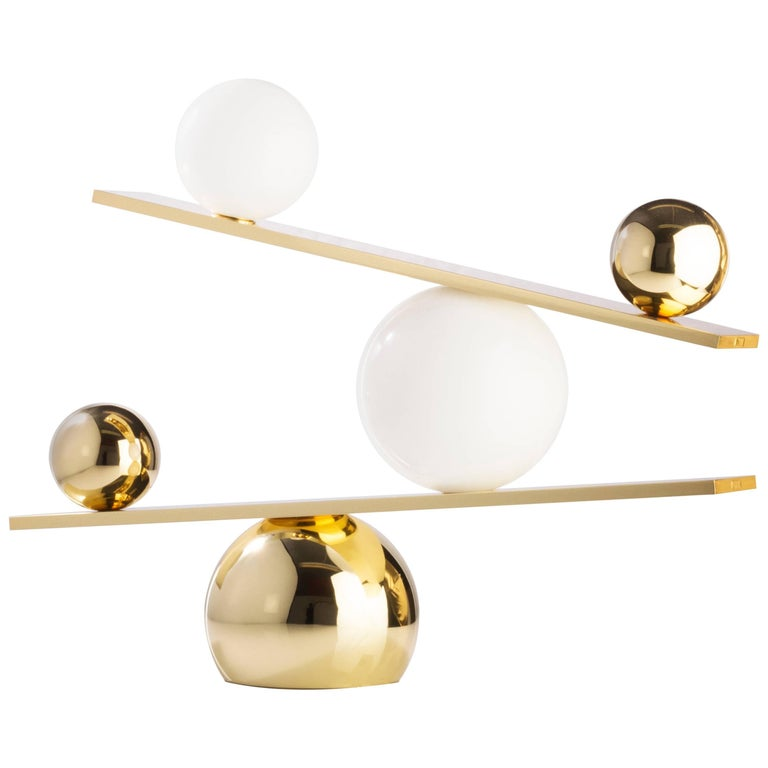 Balance Plated Brass Table Lamp by Victor Castanera for Oblure For Sale