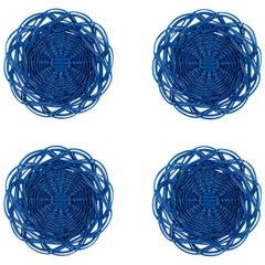 Handwoven Wicker Mini Bread Baskets in Bright Blue, Set of Four