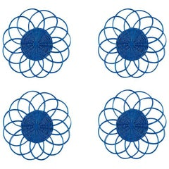 Handwoven Wicker Placemats in Bright Blue, Set of Four
