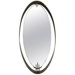 Brass Oval Mirror by Santambrogio & De Berti, Italy, 1960