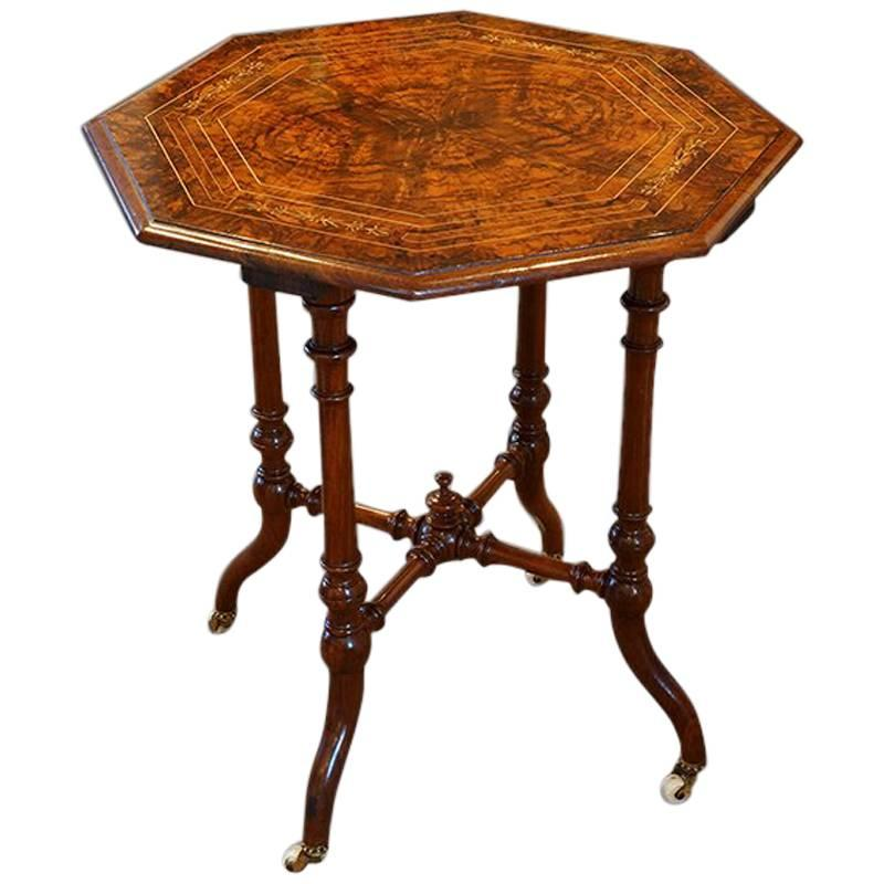 Victorian Inlaid Walnut Wine Table