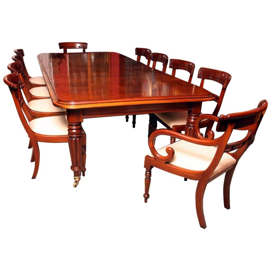 Grand English Regency Mahogany Dining Table And Ten Chairs For Sale