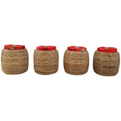 Set of Four Rattan Stools, France, 1970s