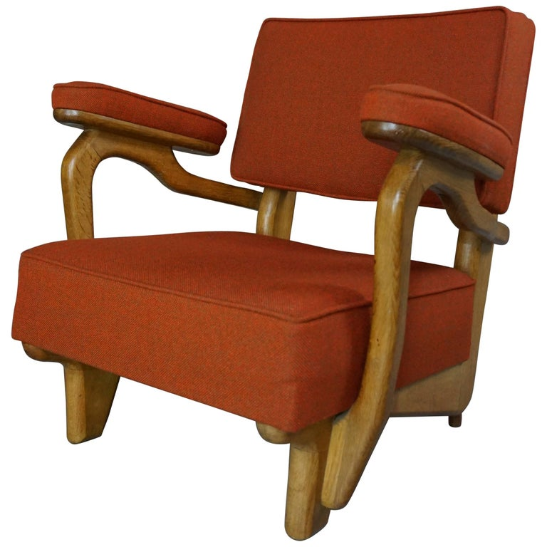 French Design of the 1950s Armchair by Guillerme et Chambron