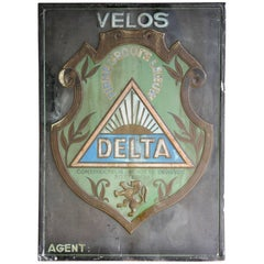 1934 Belgian Tin Advertising Sign for Bicycles Delta