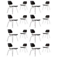 Large Set of Black Eames DMC Dining Chairs, Produced by Vitra