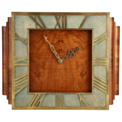 20th Century Large Art Deco Walnut and Shagreen Wall Clock, English, circa 1930