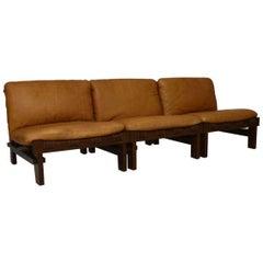 1960s Danish Leather Modular Sofa