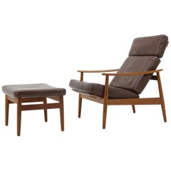 Reclining Easy Chair and Footstool by Arne Vodder, Model FD 164