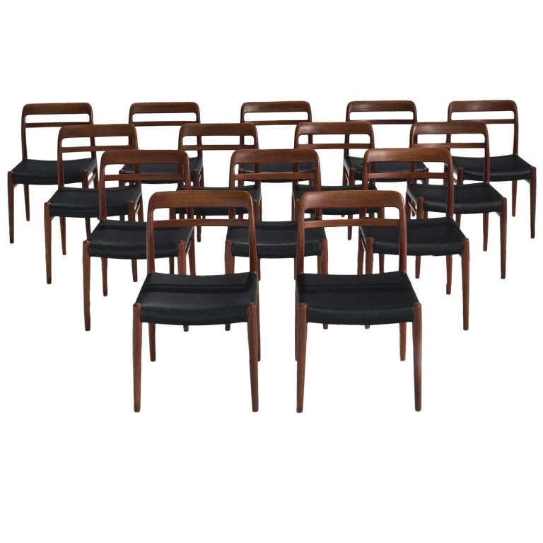 Large Set of 14 Norwegian Teak Dining Chairs by Alf Aarseth For Sale