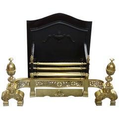 21st Century Irish Victorian Style Brass and Iron Dog Grate Fire Basket
