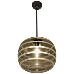 Swedish Ceiling Schoollamp with Glassshade of Frosted Stripes, 1920s