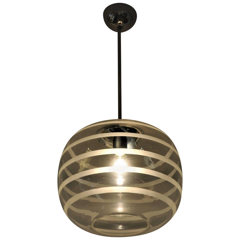 Swedish Ceiling Schoollamp with Glassshade of Frosted Stripes, 1920s For Sale
