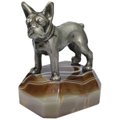 Paperweight, Metal French Bulldog on Onyx Mable Base, Japan