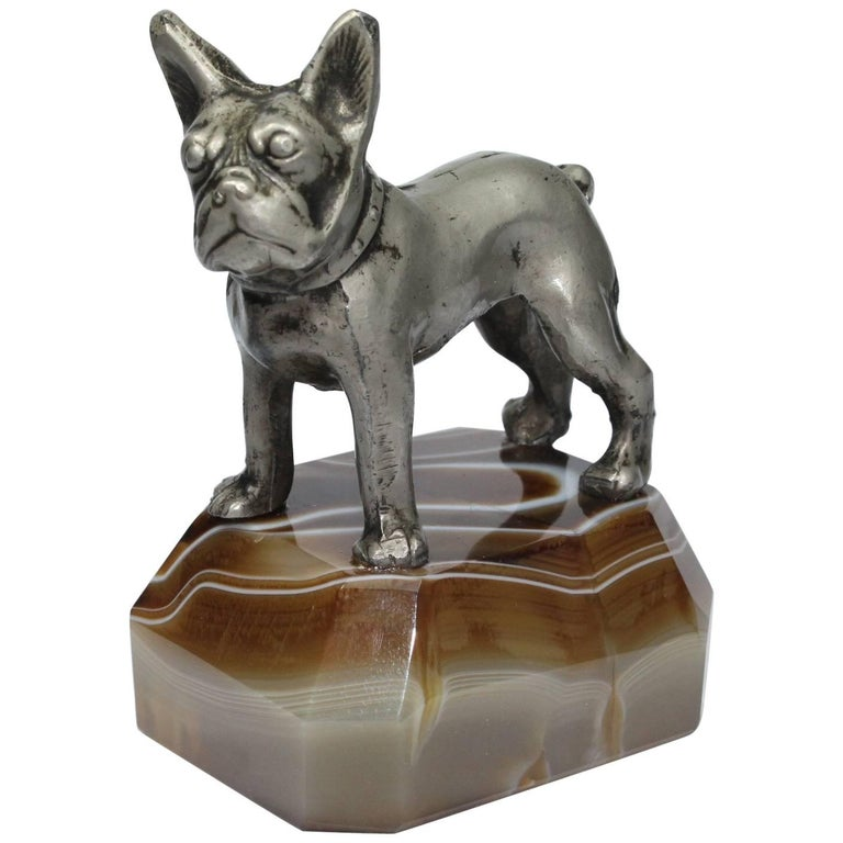 Paperweight, Metal French Bulldog on Onyx Mable Base, Japan For Sale