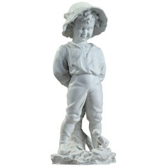 Late 19th Century Samson Bisque Statue Child with a Hat