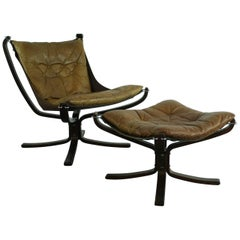 Vintage 1970s Low Back Camel Leather Falcon Chair and Ottoman by Sigurd Resell