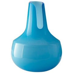 Large Vase Blue Murano Glass 'Salaka' Contemporary Design by Satyendra Pakhalé