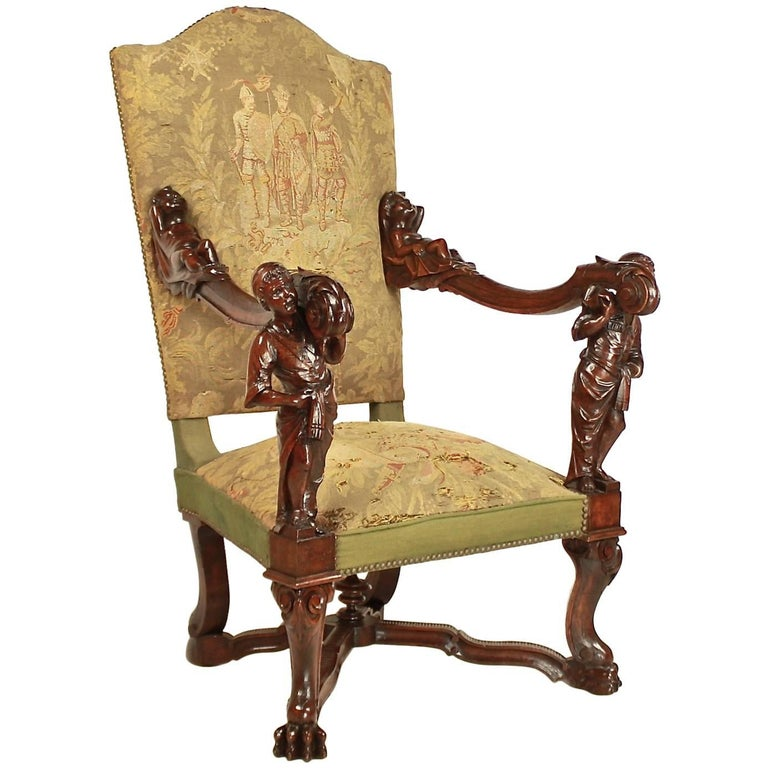 Large 19th Century Italian Baroque Style Walnut Carved Armchair