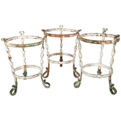 Set of Three Jardinieres or Cachepots Made of Wrought Iron, circa 1800, France