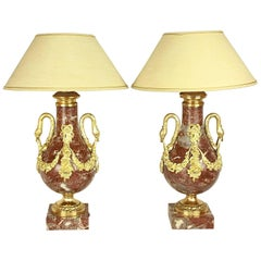 Pair of Louis XVI Style Red Marble and Gilt Bronze Mounted Table Lamps