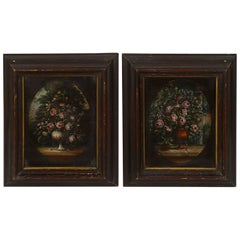 Two Similar Still Lifes, Floral Motive, Italian, Late 19th Century