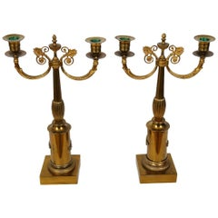 Pair of Brass Gilded Candelabras, Late Empire, Sweden, circa 1835