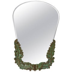 1930s Art Deco Leaves Faceted Wall Mirror, Pottery, Austria, 1930s