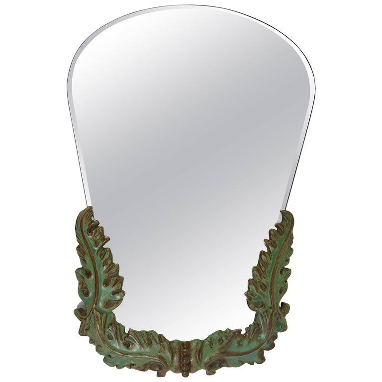 1930s Art Deco Leaves Faceted Wall Mirror Pottery Austria 1930s
