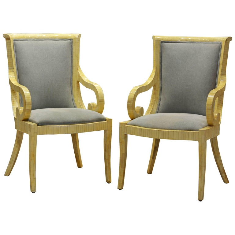 Pair of Tessellated Neoclassical Style Bone Inlay Armchairs by Enrique Garcel 1