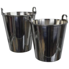 Two Vintage Art Deco Style Silver Plated Ice Buckets