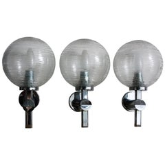 Set of Three Midcentury Wall Lights, Chrome and Glass Sconces, circa 1970s