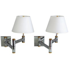 Karl Springer Pair of Brass and Nickel Swing Arm Sconces