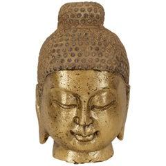 Carved Stone Gilt Buddha Head