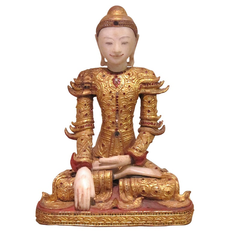 Burmese Marble Giltwood Buddha in Royal Costume, circa 1800-1850 For Sale