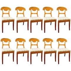 Biedermeier Set of Ten Antique Swedish Flame Golden Birch Dining Chairs Honey