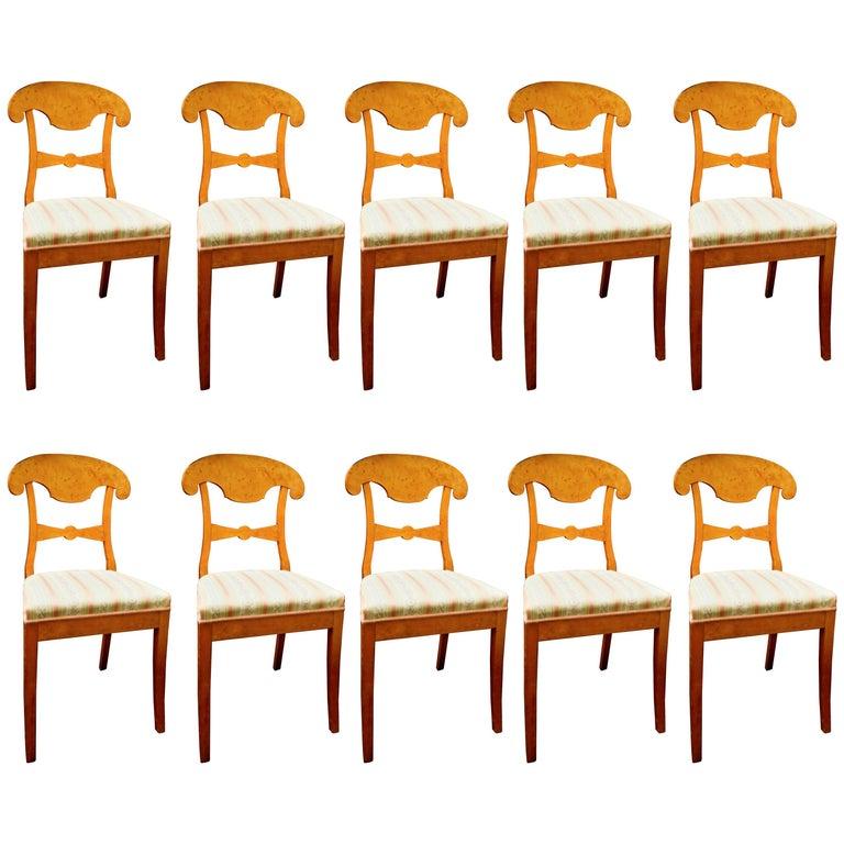 Swedish Biedermeier Dining Chairs Set of Ten Flame Golden Birch Honey Colour